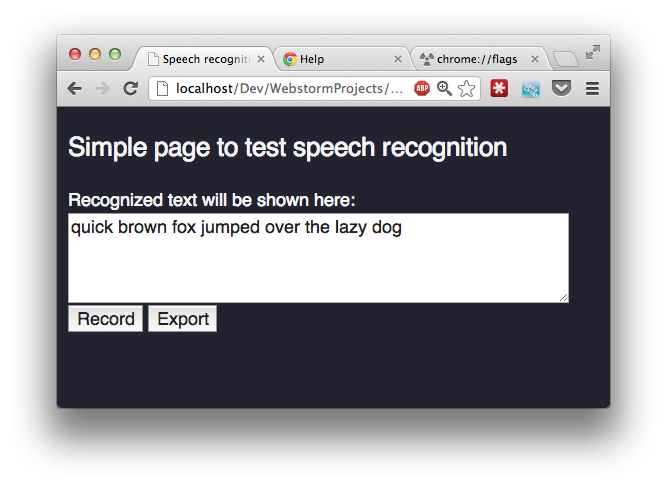 Record audio using webrtc in chrome and speech recognition