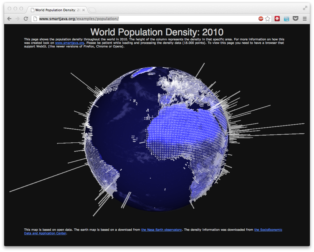 Html5 render open data on a 3d world globe with threejs world population density 2010g gumiabroncs